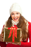 Beautiful woman holding christmas present Stock Image