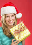Beautiful Woman Holding Christmas Present Stock Photography