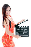 Beautiful Woman Holding Clapper Board Royalty Free Stock Images