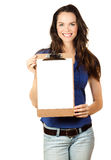 Beautiful woman holding clipboard Stock Image