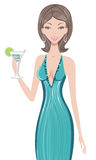 Beautiful woman holding cocktail. An illustraton of a young beautiful woman holding cocktail Stock Images