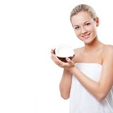 Beautiful woman holding coconut royalty free stock photos