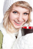 Beautiful woman holding coffee cup Stock Images