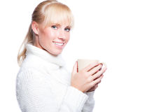 Beautiful woman holding coffee cup Royalty Free Stock Photography