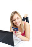 Beautiful woman holding credit card Royalty Free Stock Photo