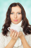 Beautiful woman holding cup Royalty Free Stock Images