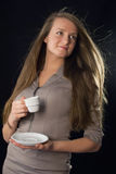Beautiful woman holding cup of coffee Stock Photography