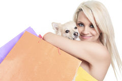 Beautiful woman holding dog in studio Royalty Free Stock Photography