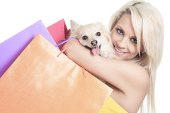Beautiful woman holding dog in studio Royalty Free Stock Photo