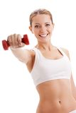 Beautiful Woman Holding Dumbbell Stock Images