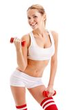 Beautiful Woman Holding Dumbbells Royalty Free Stock Image