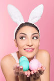 Beautiful woman holding a easter eggs Royalty Free Stock Image