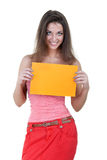 Beautiful woman holding empty orange board stock photography