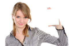 Beautiful woman holding empty white board Royalty Free Stock Photo