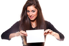 Beautiful woman holding empty white board. On white background Royalty Free Stock Image