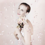 Beautiful Woman Holding Flowers At Vintage Wedding Royalty Free Stock Photos