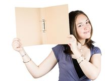 Beautiful woman holding a folder Royalty Free Stock Image