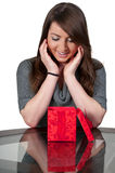 Beautiful Woman Holding Gift Stock Image