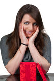 Beautiful Woman Holding Gift Royalty Free Stock Photography