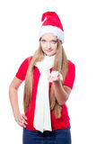 Beautiful woman holding a gift Royalty Free Stock Image