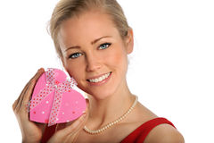 BEautiful Woman Holding Gift Box Stock Photography