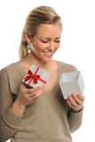 Beautiful Woman Holding Gift Box Royalty Free Stock Photos
