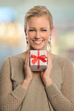 Beautiful Woman Holding Gift Box Stock Images
