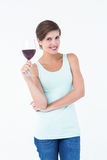 Beautiful woman holding glass of red wine Royalty Free Stock Photos