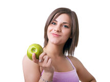 Beautiful woman holding green apple Stock Image