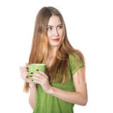 Beautiful woman holding green coffee cup Royalty Free Stock Image