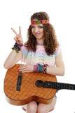 Beautiful woman holding guitar Stock Photos