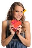 Beautiful Woman Holding Heart Box Stock Photo