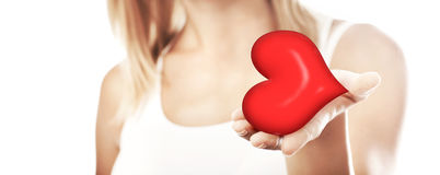 Beautiful woman holding heart, selective focus Royalty Free Stock Photo