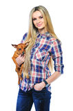 Beautiful woman holding her little puppy posing isolated on whit Stock Photos