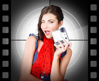 Beautiful woman holding home video camera Royalty Free Stock Photo