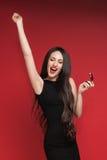 Beautiful woman holding jewelry box Stock Image