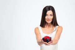 Beautiful woman holding jewerly gift box Stock Images
