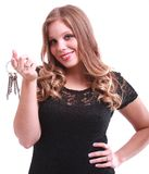 A beautiful woman holding keys Royalty Free Stock Photo