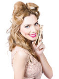Beautiful woman holding large cleaning peg Royalty Free Stock Photography