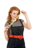 Beautiful woman holding measuring tape. Isolated on white portrait Royalty Free Stock Photography