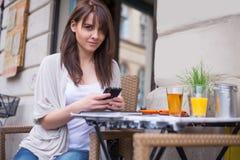 Beautiful woman  holding mobile. Stock Photos