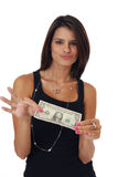 Beautiful woman holding money. A beautiful young woman holding a dollar bill Stock Photos