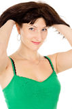 A beautiful woman is holding onto their hair Royalty Free Stock Photos