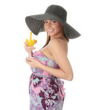 Beautiful woman holding a orange cocktail Royalty Free Stock Image