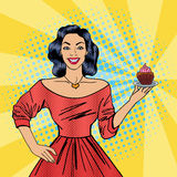 Beautiful Woman Holding a Plate with Cake. Housewife and Cupcake. Beautiful Woman Holding a Plate with Cake. Housewife with Cupcake. Pop Art. Vector Stock Photos
