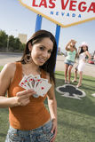 Beautiful Woman Holding Playing Cards Stock Images