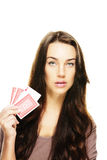 Beautiful woman holding poker cards Stock Photography