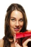 Beautiful woman holding present Stock Photos