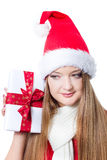 Beautiful woman holding a present Royalty Free Stock Photo