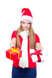 Beautiful woman holding a present Royalty Free Stock Image